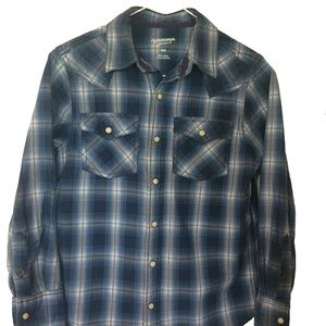 Arizona Boys Western Style Plaid Button Up
